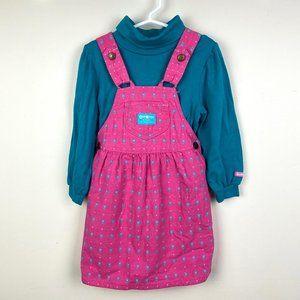 Vtg OshKosh B'gosh Girls Pink Jumper & Shirt Set